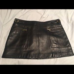 Vintage guess black leather skirt EUC! 8